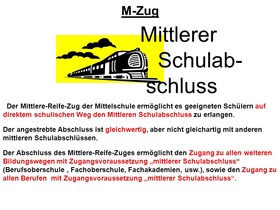 Mittlerer Schulab- schluss M-Zug