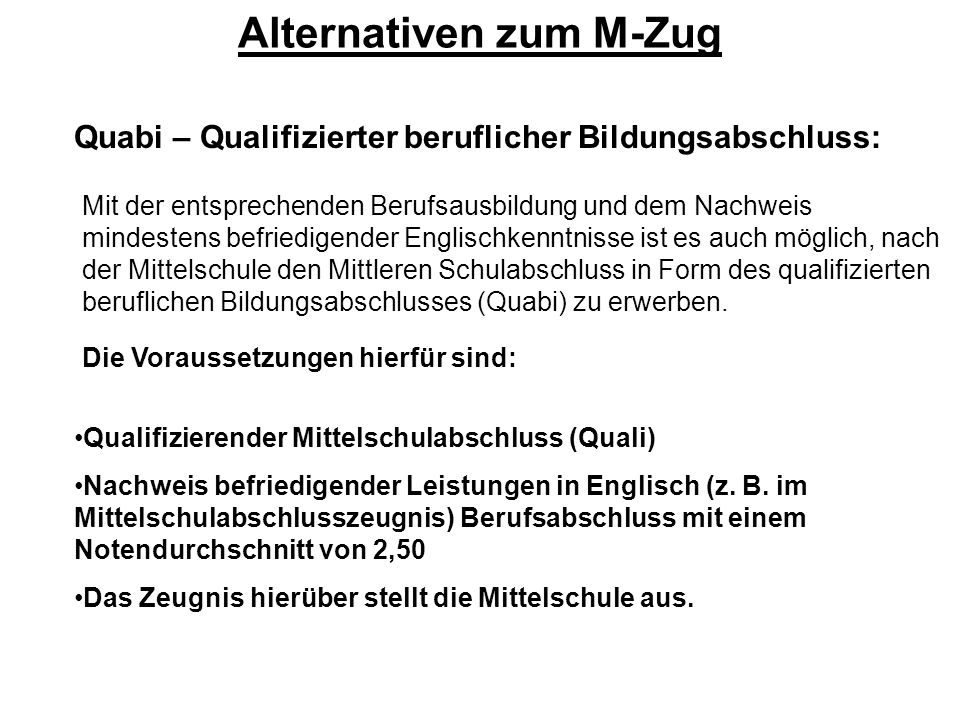 Alternativen zum M-Zug