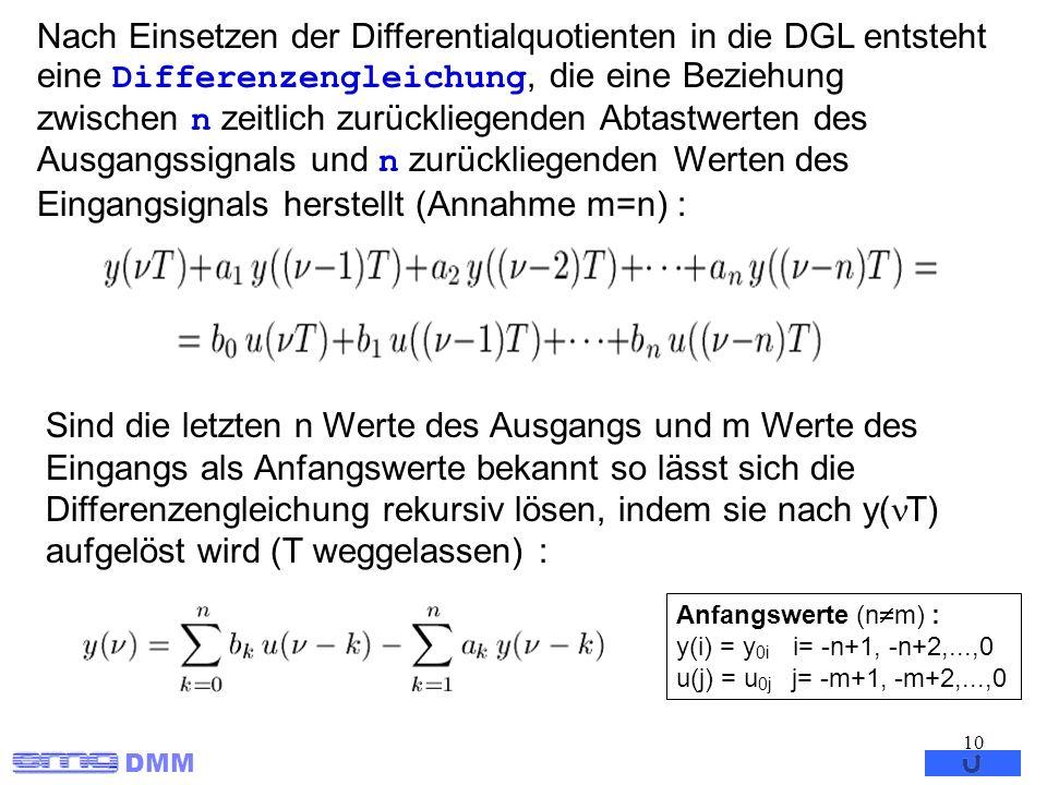 Nach Einsetzen der Differentialquotienten in die DGL entsteht eine Differenzengleichung, die eine Beziehung zwischen n zeitlich zurückliegenden Abtastwerten des Ausgangssignals und n zurückliegenden Werten des Eingangsignals herstellt (Annahme m=n) :