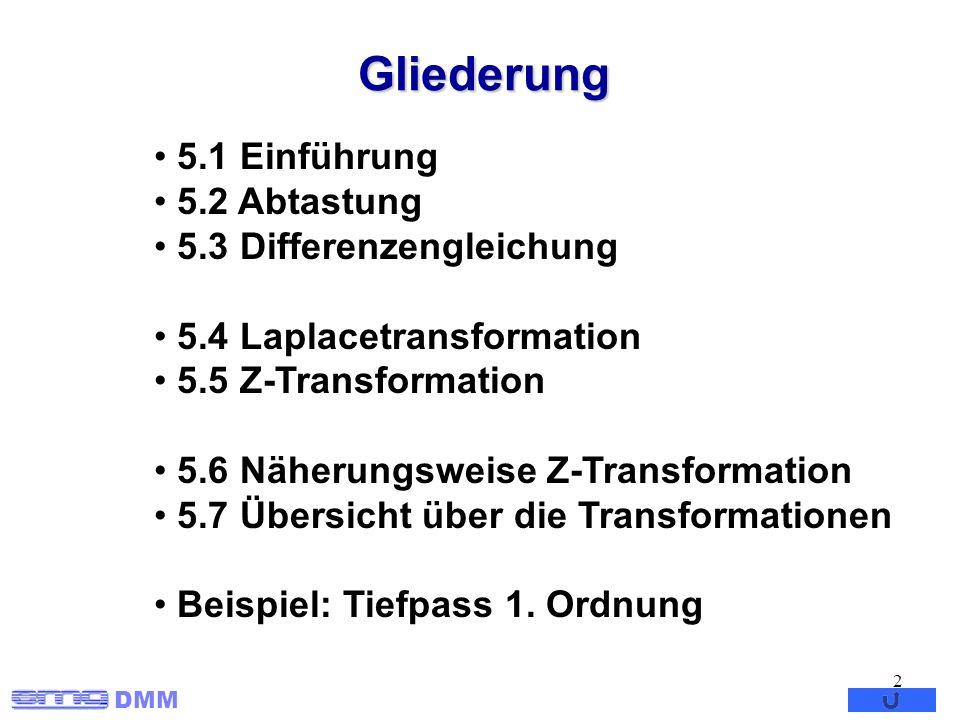 Gliederung 5.1 Einführung 5.2 Abtastung 5.3 Differenzengleichung