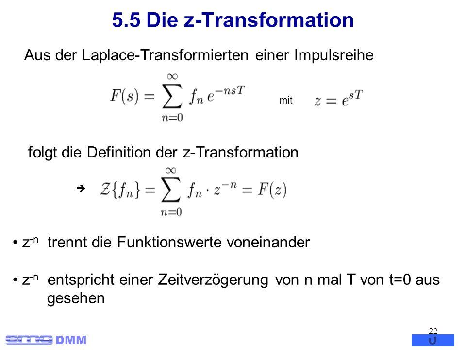 5.5 Die z-TransformationAus der Laplace-Transformierten einer Impulsreihe. mit. folgt die Definition der z-Transformation.