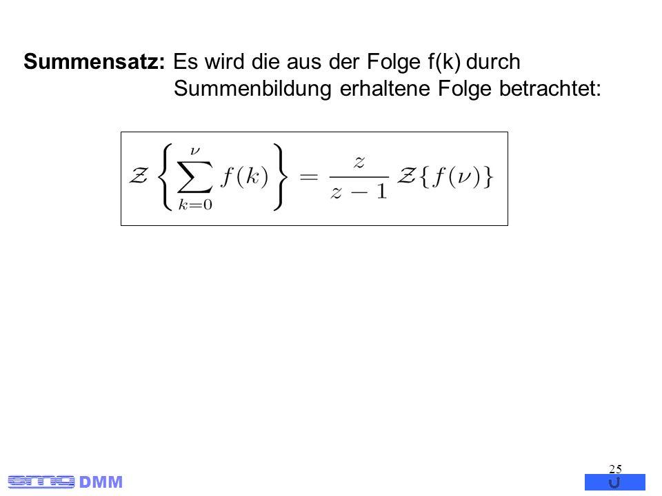 Summensatz: Es wird die aus der Folge f(k) durch