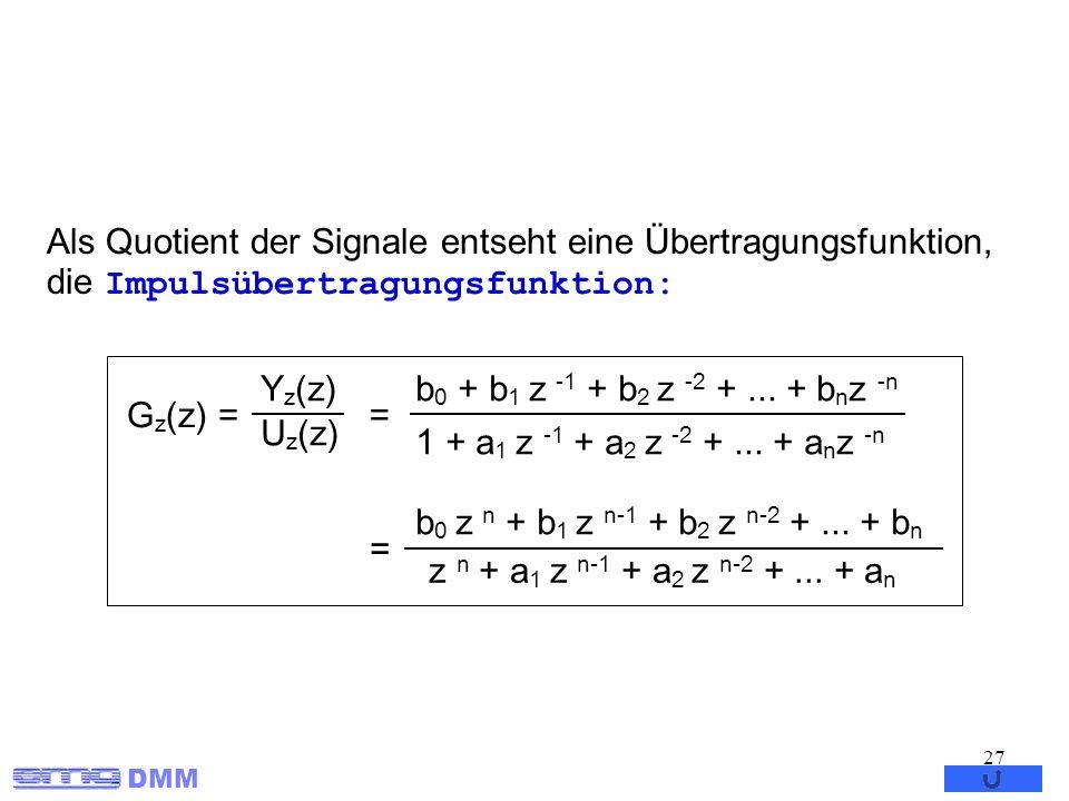 Als Quotient der Signale entseht eine Übertragungsfunktion, die Impulsübertragungsfunktion: