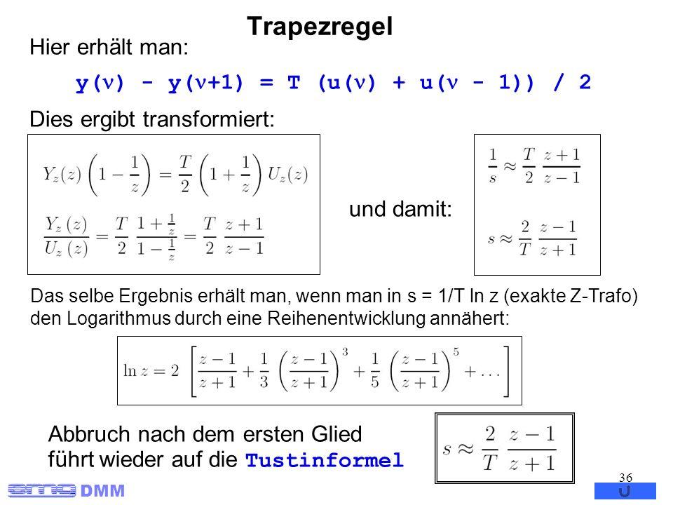 y() - y(+1) = T (u() + u( - 1)) / 2