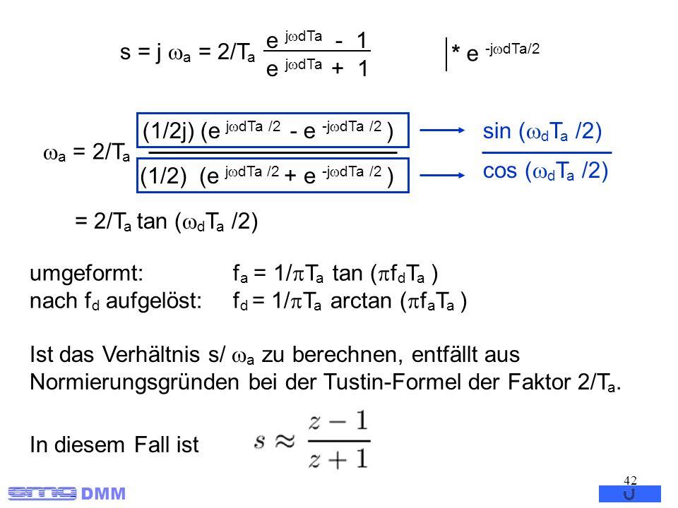 s = j a = 2/Ta e jdTa - 1. e jdTa + 1. * e -jdTa/2. a = 2/Ta. (1/2j) (e jdTa /2 - e -jdTa /2 )