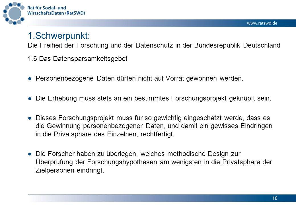 Schwerpunkt: Die Freiheit der Forschung und der Datenschutz in der Bundesrepublik Deutschland