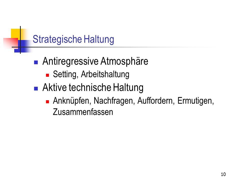 Antiregressive Atmosphäre Aktive technische Haltung