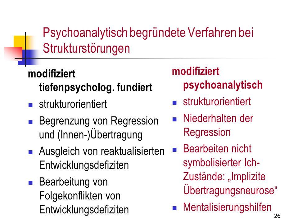 Psychoanalytisch begründete Verfahren bei Strukturstörungen