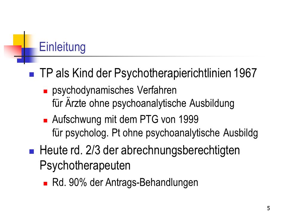 TP als Kind der Psychotherapierichtlinien 1967
