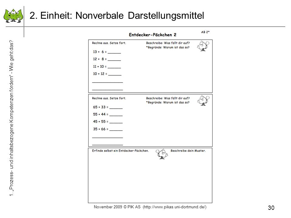 2. Einheit: Nonverbale Darstellungsmittel