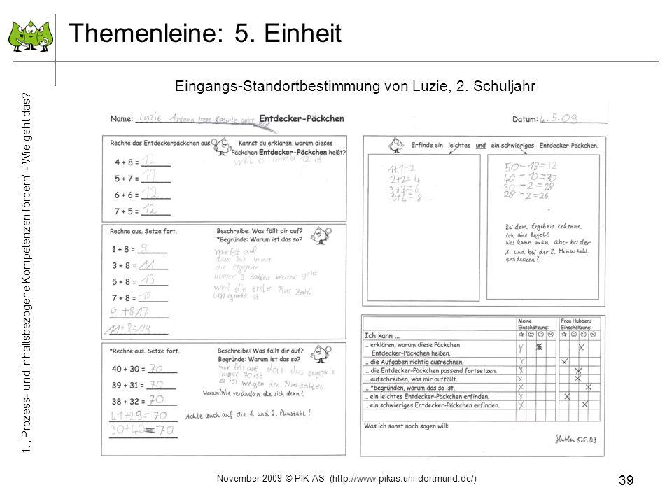 """Themenleine: 5. Einheit Eingangs-Standortbestimmung von Luzie, 2. Schuljahr. 1. """"Prozess- und inhaltsbezogene Kompetenzen fördern - Wie geht das"""