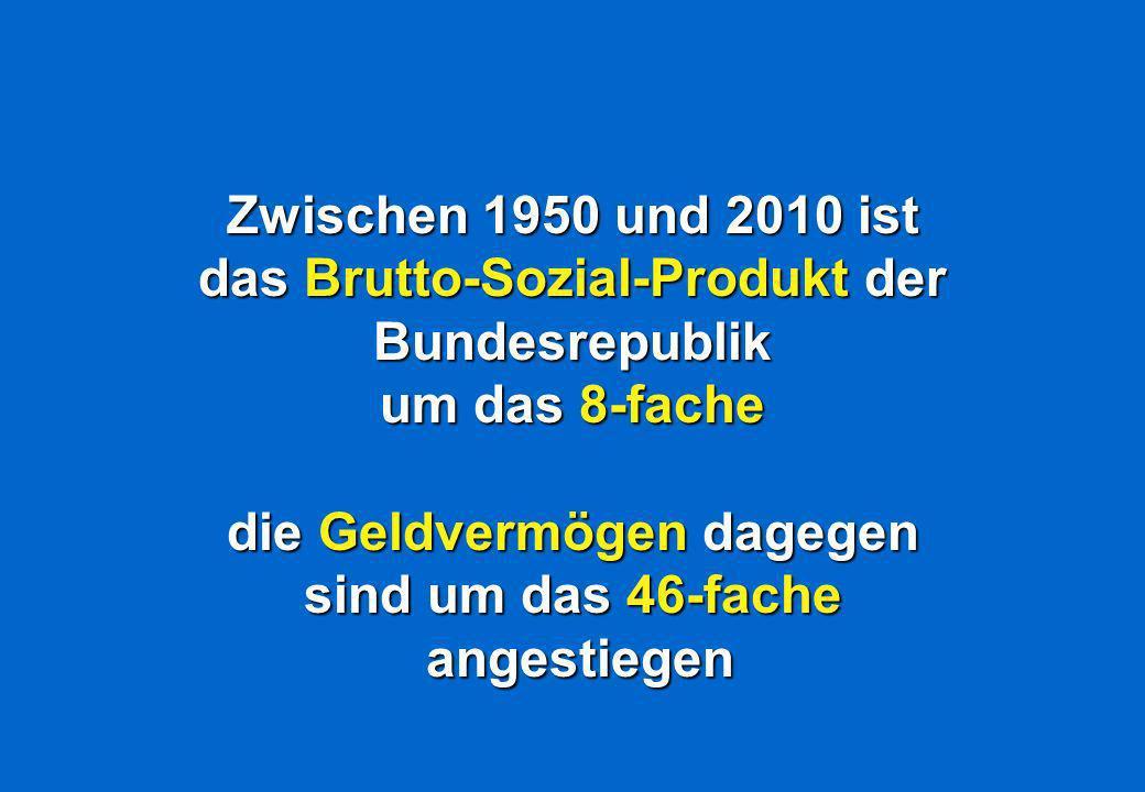 Zwischen 1950 und 2010 ist das Brutto-Sozial-Produkt der Bundesrepublik um das 8-fache die Geldvermögen dagegen sind um das 46-fache angestiegen