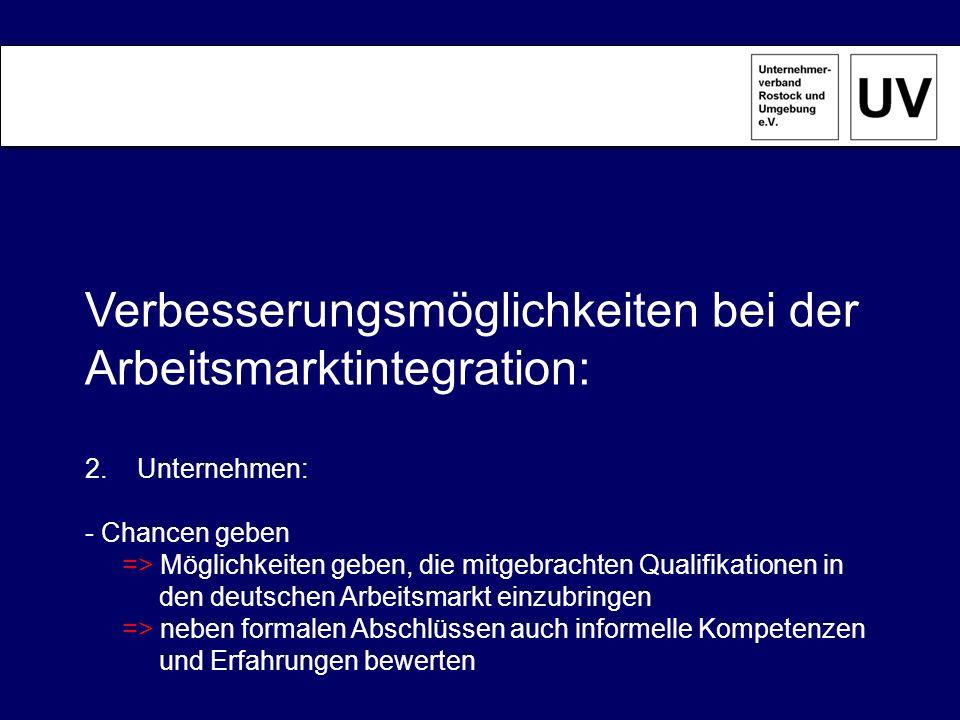 Verbesserungsmöglichkeiten bei der Arbeitsmarktintegration:
