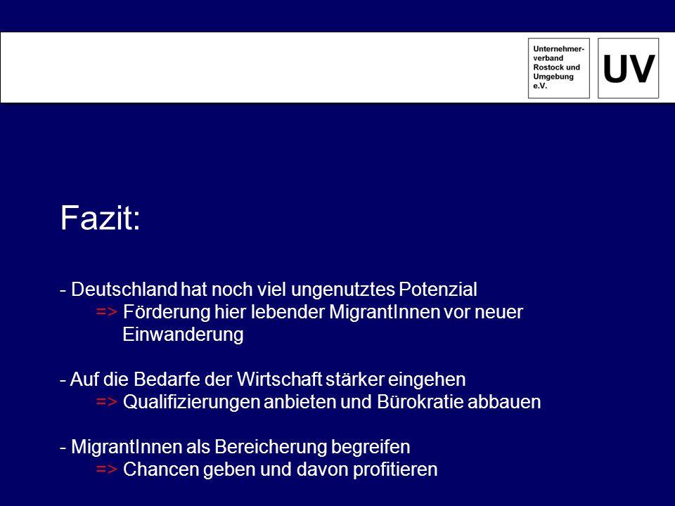 Fazit: - Deutschland hat noch viel ungenutztes Potenzial