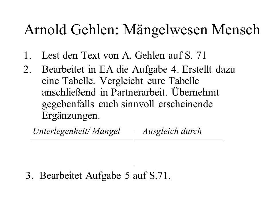 Arnold Gehlen: Mängelwesen Mensch