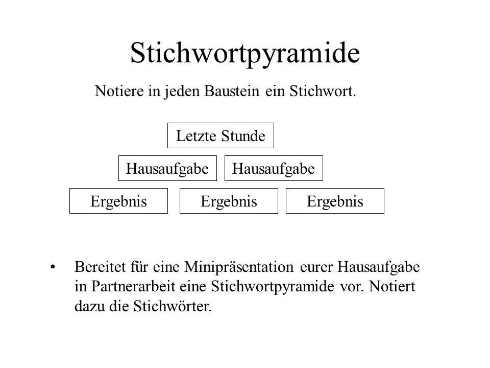 Stichwortpyramide Notiere in jeden Baustein ein Stichwort.