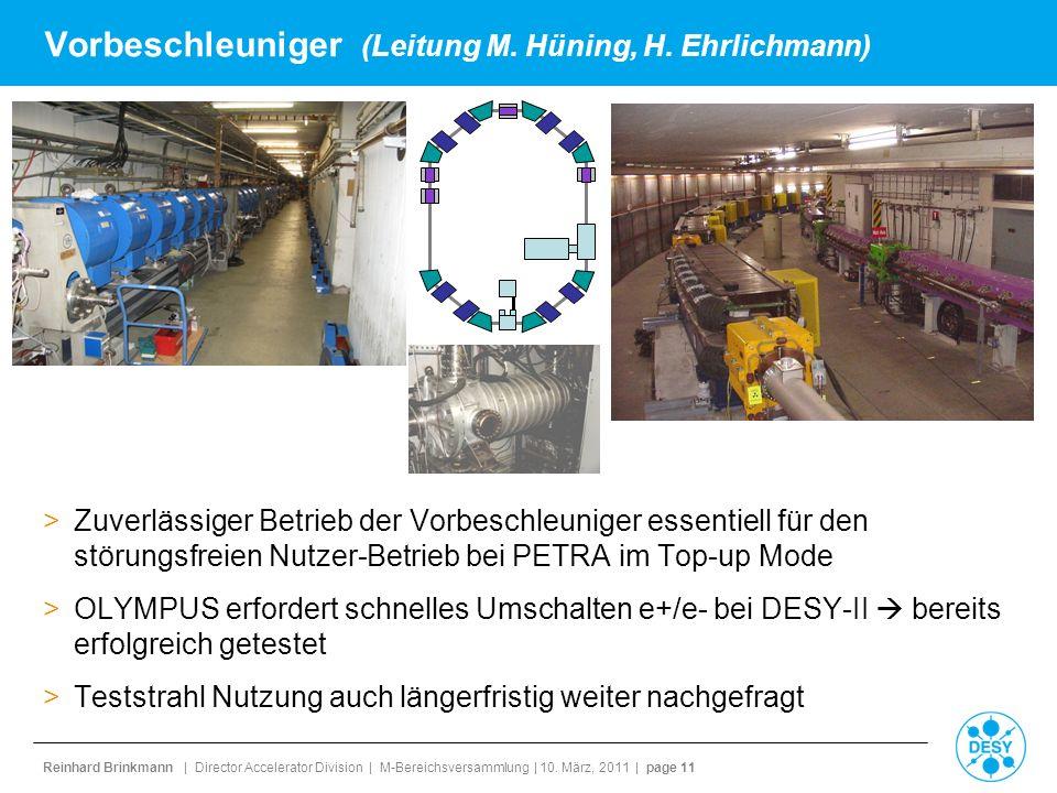Vorbeschleuniger (Leitung M. Hüning, H. Ehrlichmann)