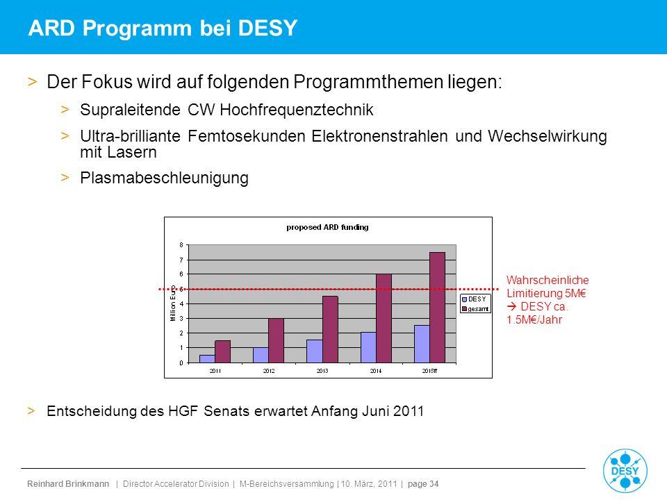 ARD Programm bei DESY Der Fokus wird auf folgenden Programmthemen liegen: Supraleitende CW Hochfrequenztechnik.