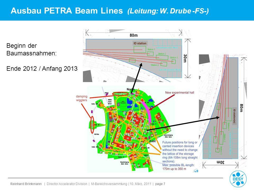 Ausbau PETRA Beam Lines (Leitung: W. Drube -FS-)
