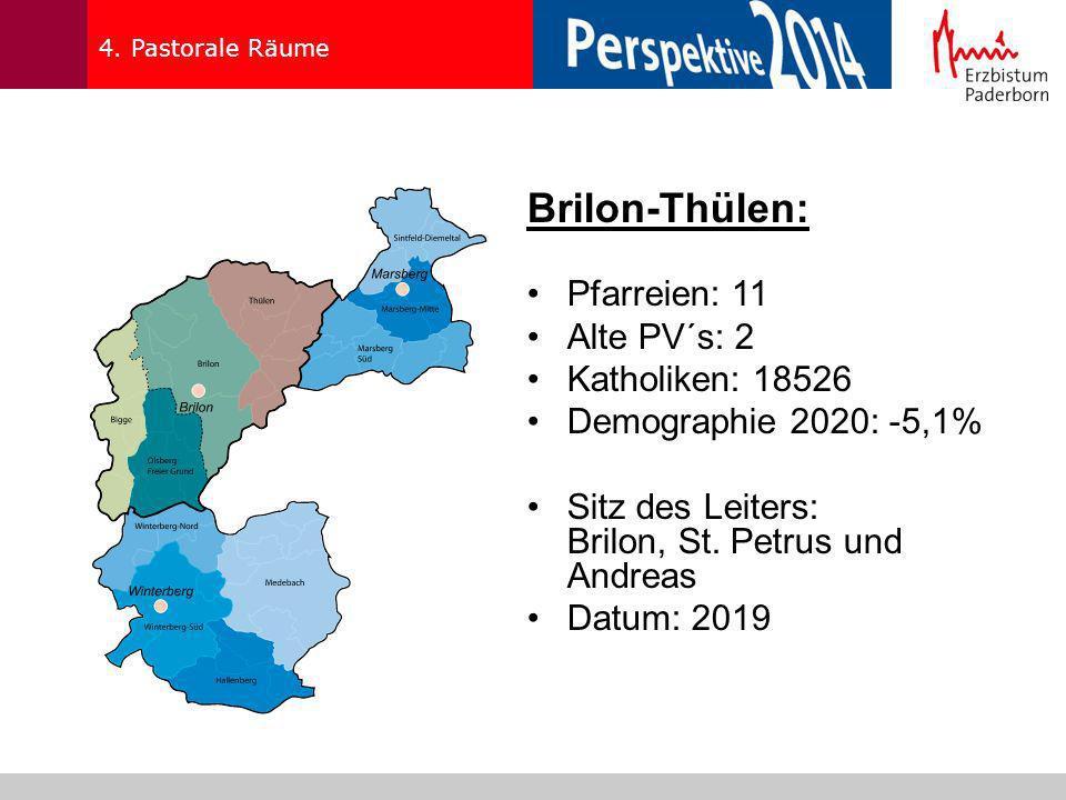 Brilon-Thülen: Pfarreien: 11 Alte PV´s: 2 Katholiken: 18526