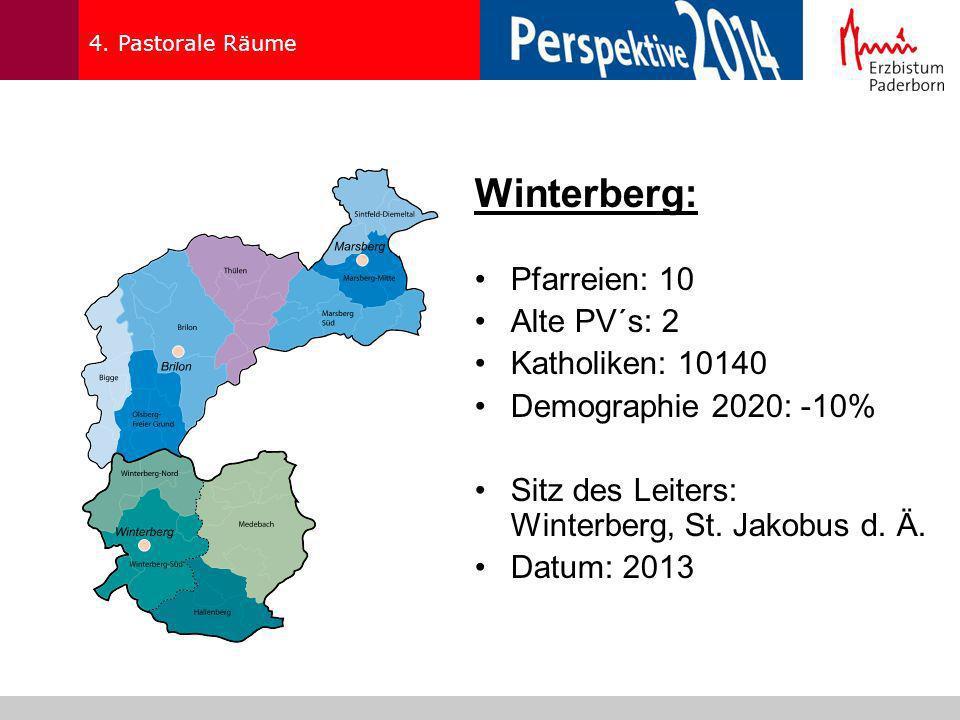 Winterberg: Pfarreien: 10 Alte PV´s: 2 Katholiken: 10140