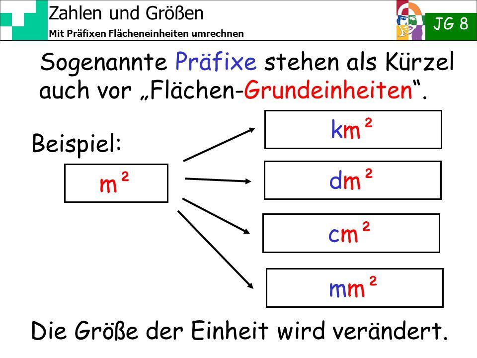"""Sogenannte Präfixe stehen als Kürzel auch vor """"Flächen-Grundeinheiten ."""
