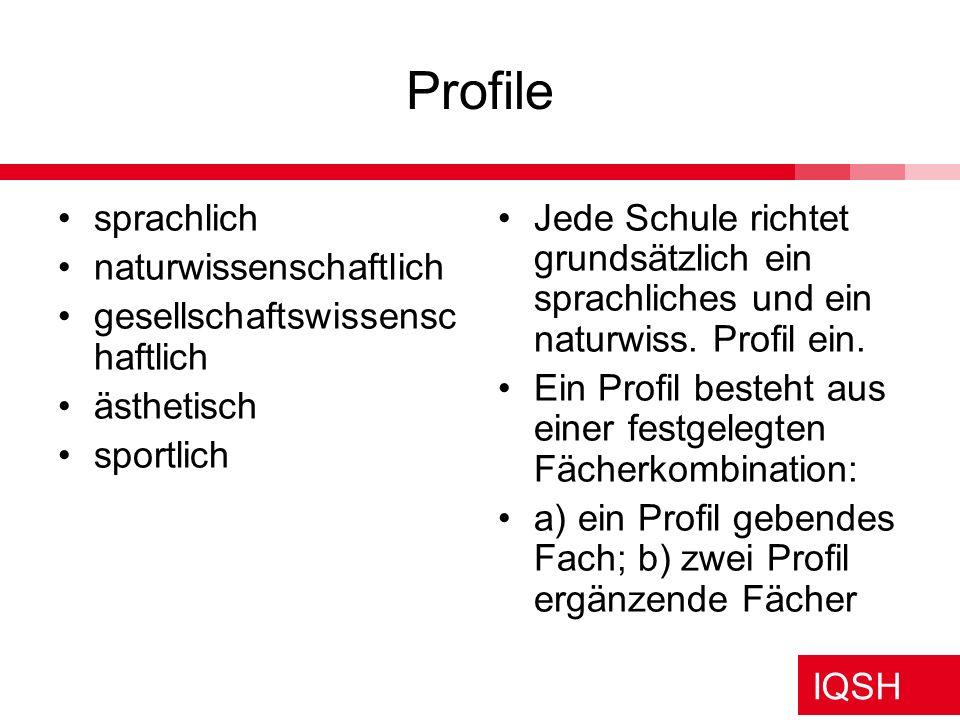 Profile sprachlich naturwissenschaftlich gesellschaftswissenschaftlich