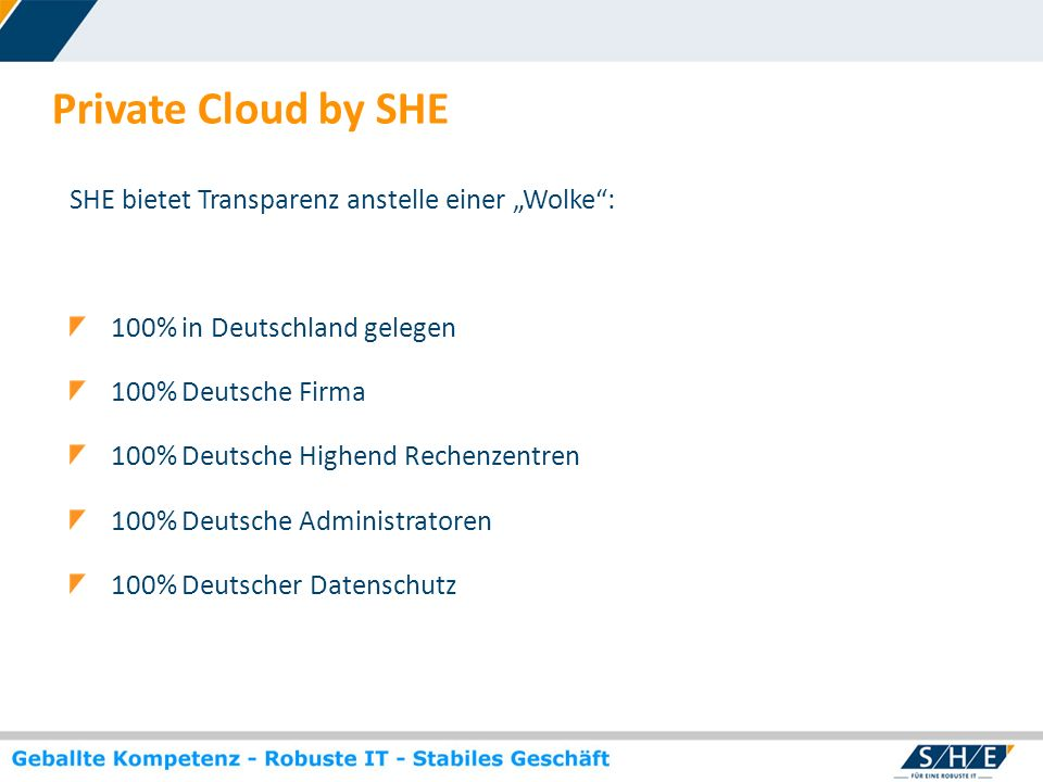 "Private Cloud by SHE SHE bietet Transparenz anstelle einer ""Wolke :"