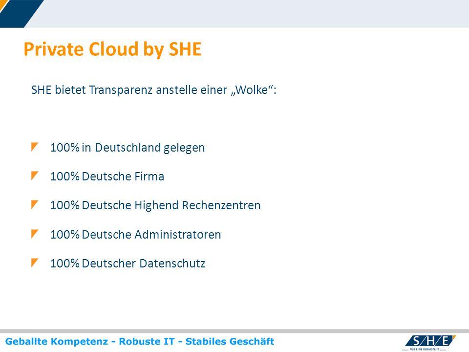 """Private Cloud by SHE SHE bietet Transparenz anstelle einer """"Wolke :"""
