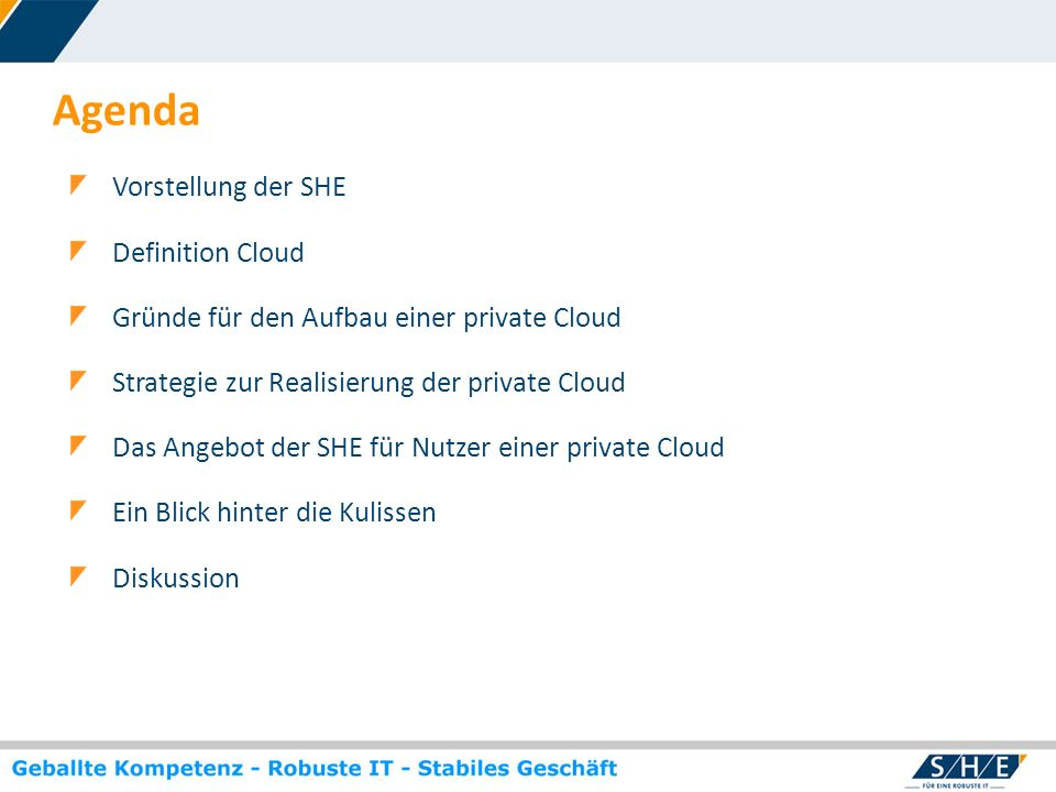 Agenda Vorstellung der SHE Definition Cloud