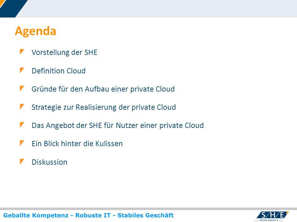 Agenda Vorstellung der SHE Definition Cloud