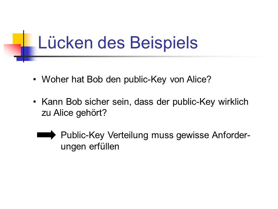 Lücken des Beispiels Woher hat Bob den public-Key von Alice