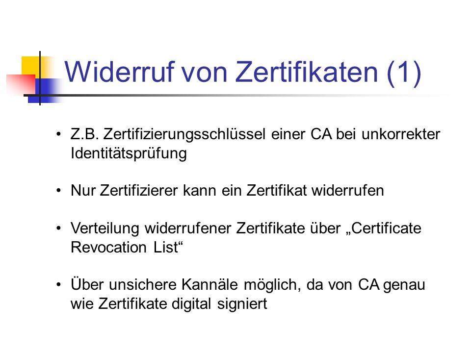 Widerruf von Zertifikaten (1)