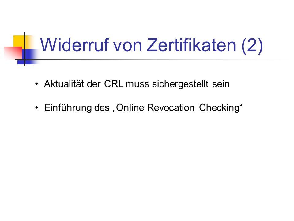 Widerruf von Zertifikaten (2)