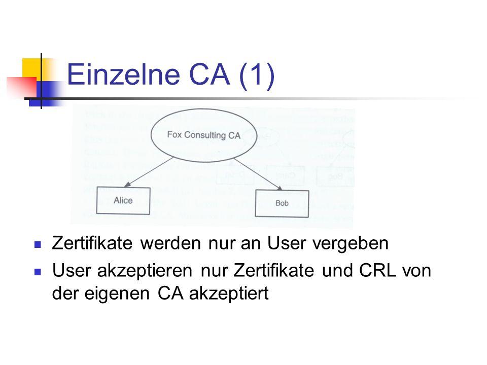 Einzelne CA (1) Zertifikate werden nur an User vergeben