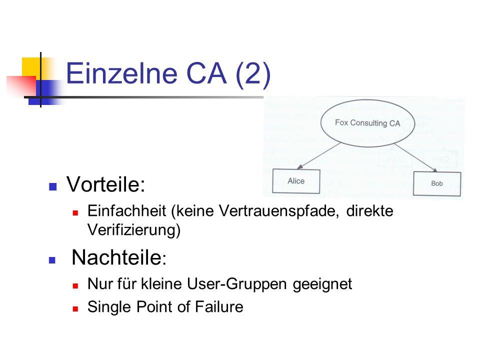 Einzelne CA (2) Vorteile: Nachteile: