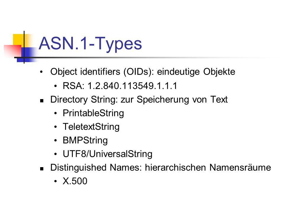 ASN.1-Types Object identifiers (OIDs): eindeutige Objekte
