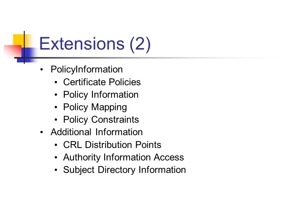 Extensions (2) PolicyInformation Certificate Policies