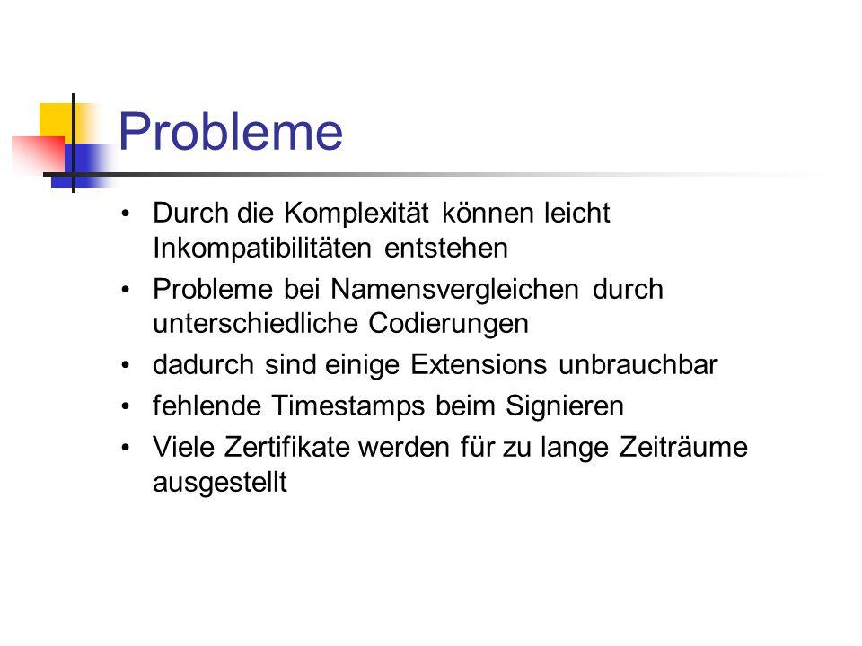 Probleme Durch die Komplexität können leicht Inkompatibilitäten entstehen. Probleme bei Namensvergleichen durch unterschiedliche Codierungen.