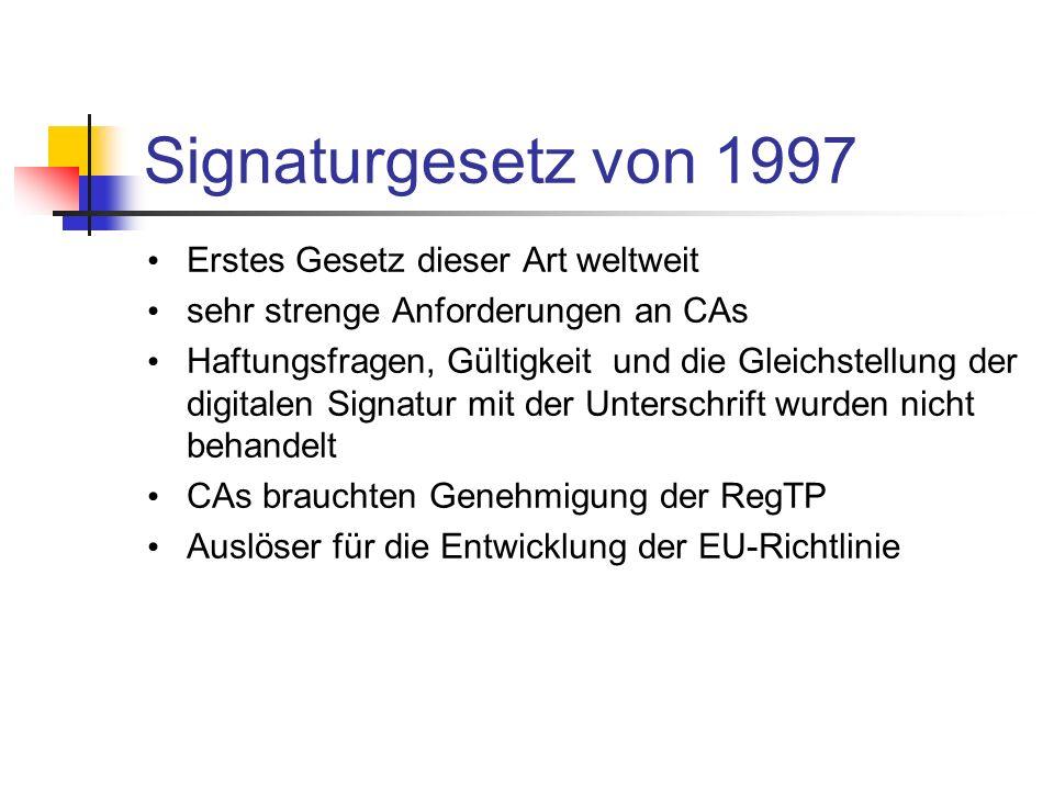 Signaturgesetz von 1997 Erstes Gesetz dieser Art weltweit
