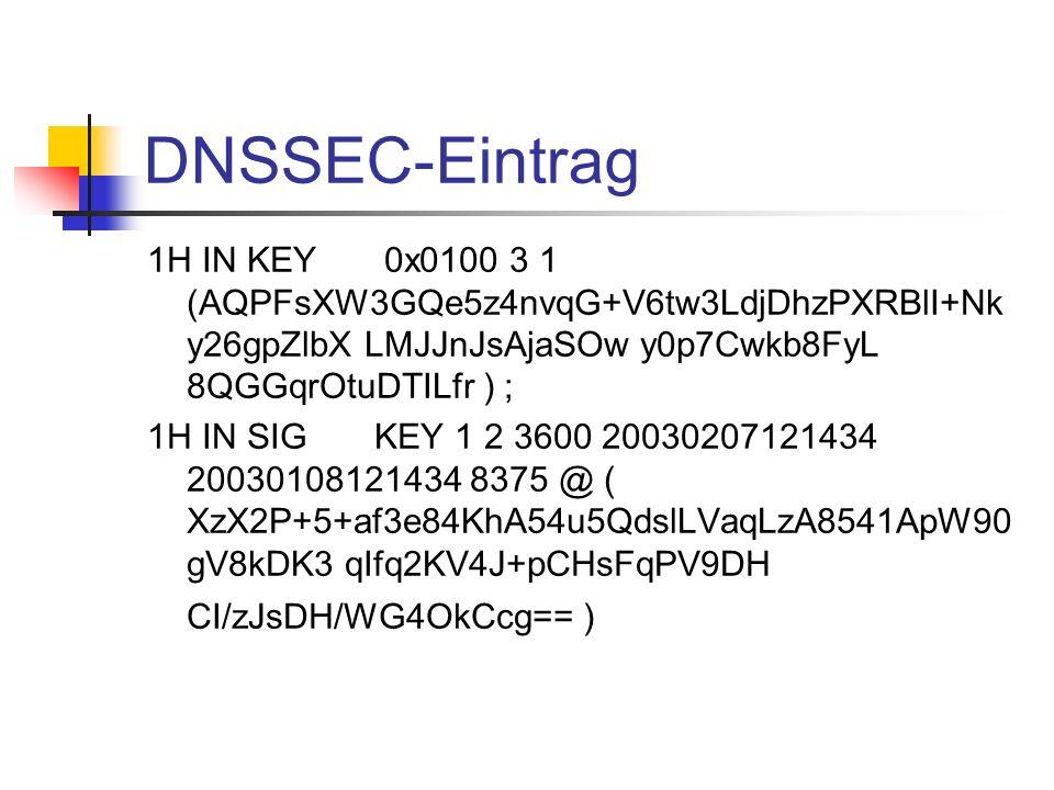 DNSSEC-Eintrag1H IN KEY 0x0100 3 1 (AQPFsXW3GQe5z4nvqG+V6tw3LdjDhzPXRBlI+Nky26gpZlbX LMJJnJsAjaSOw y0p7Cwkb8FyL 8QGGqrOtuDTILfr ) ;