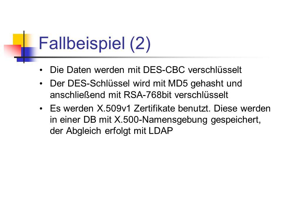 Fallbeispiel (2) Die Daten werden mit DES-CBC verschlüsselt