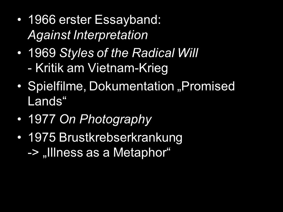 1966 erster Essayband: Against Interpretation