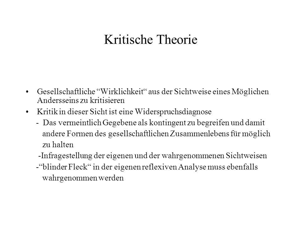 Kritische TheorieGesellschaftliche Wirklichkeit aus der Sichtweise eines Möglichen Andersseins zu kritisieren.