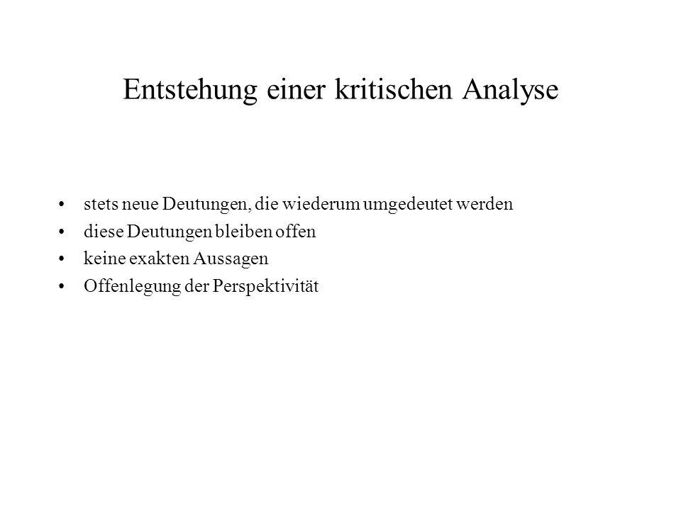 Entstehung einer kritischen Analyse
