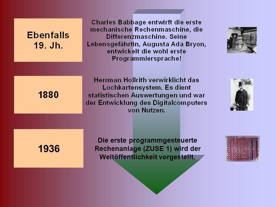 1936 Die erste programmgesteuerte Rechenanlage (ZUSE 1) wird der Weltöffentlichkeit vorgestellt.
