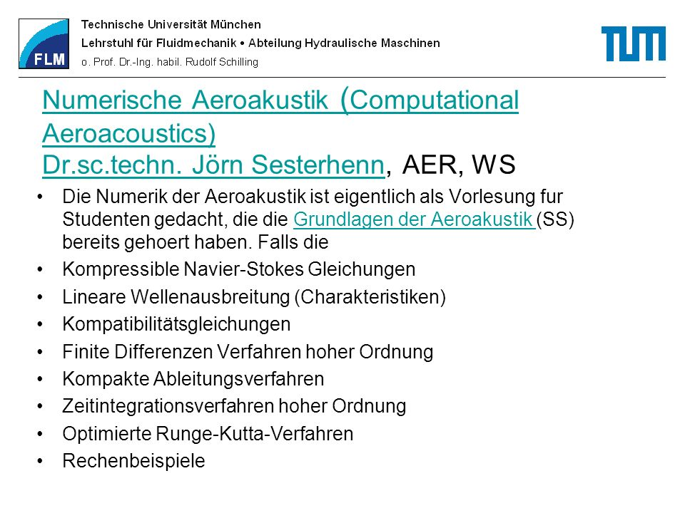 Numerische Aeroakustik (Computational Aeroacoustics) Dr. sc. techn