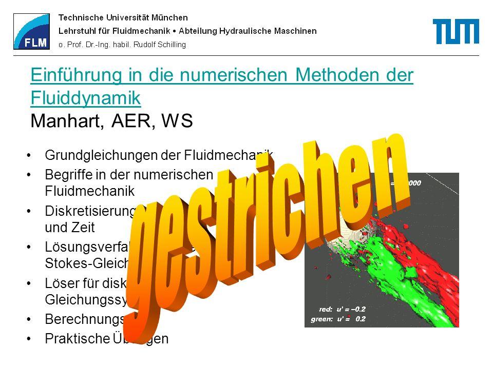 Einführung in die numerischen Methoden der Fluiddynamik Manhart, AER, WS