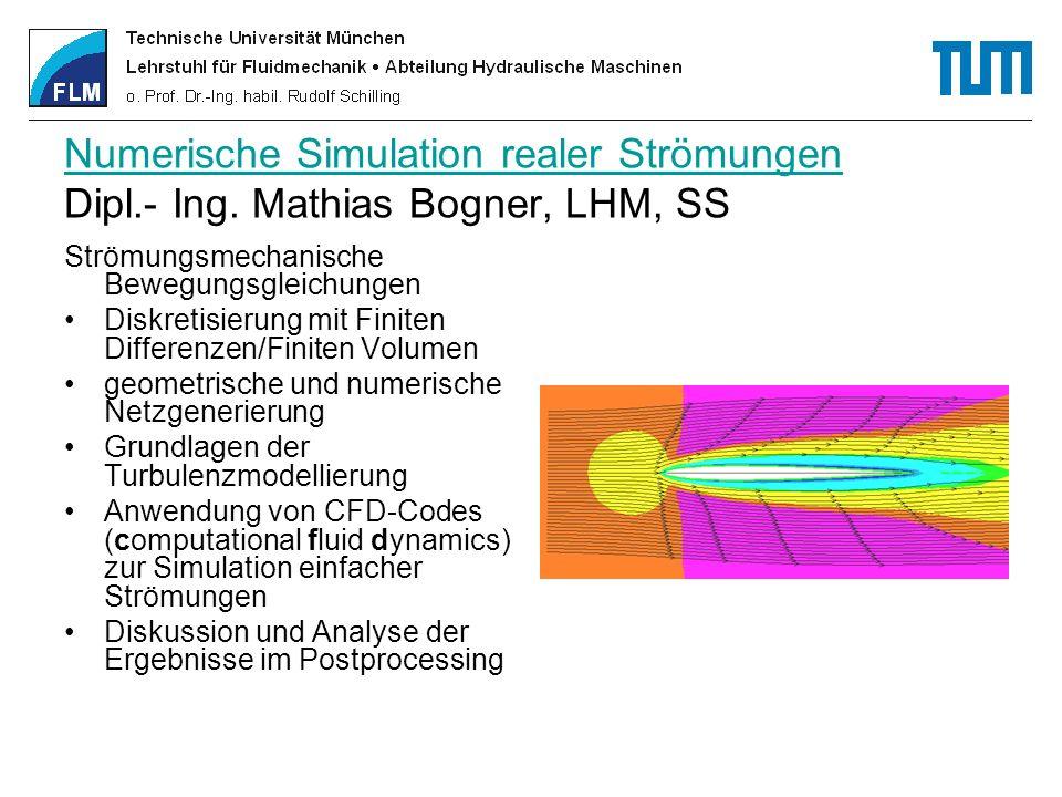 Numerische Simulation realer Strömungen Dipl. - Ing
