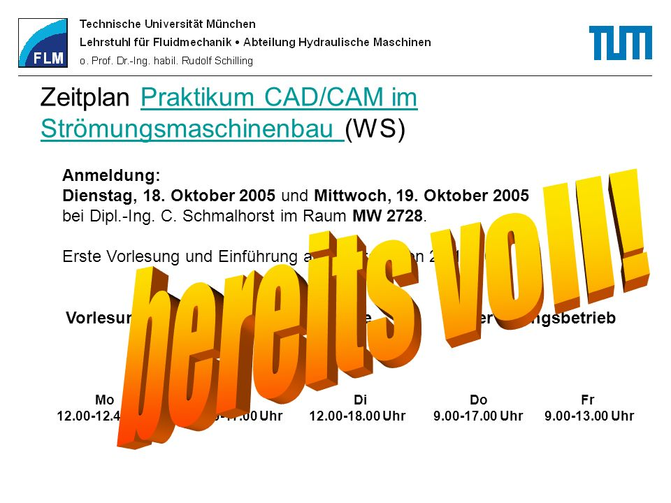 Zeitplan Praktikum CAD/CAM im Strömungsmaschinenbau (WS)